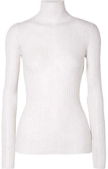 f4f4cd53e3 Theory Ribbed Pointelle-knit Wool-blend Turtleneck Sweater - Ecru ...