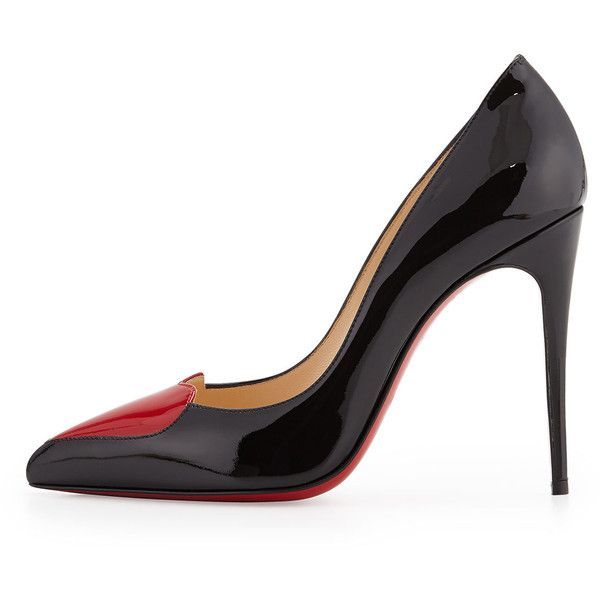 christian louboutin cora patent heart red sole pump black/red