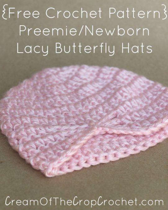 Preemie Newborn Lacy Butterfly Hat Crochet Pattern | Cream Of The ...
