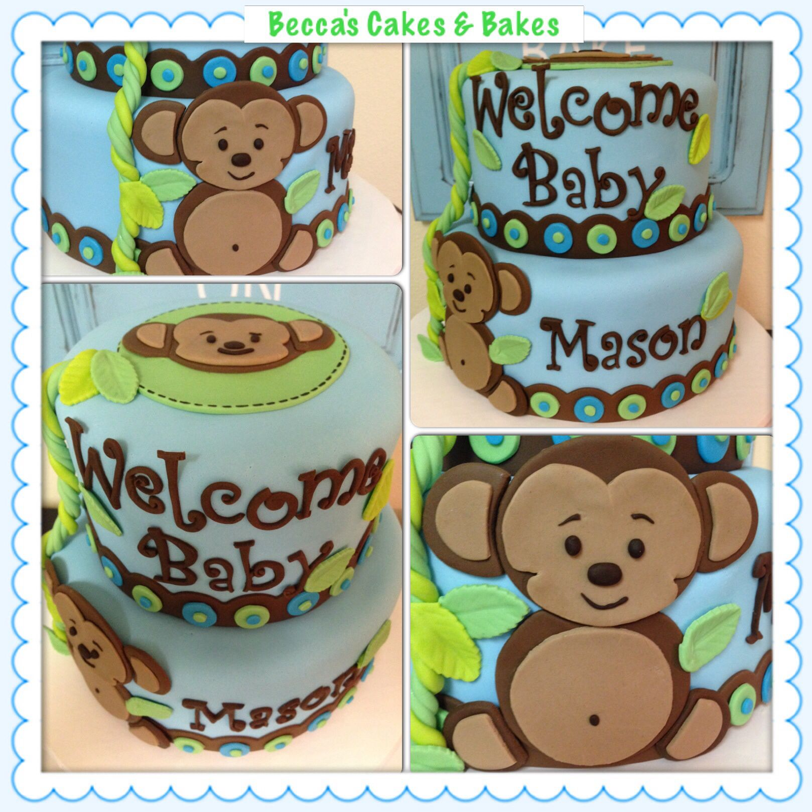 Monkey Baby Shower Cake Monkey Baby Shower Baby Shower Cakes