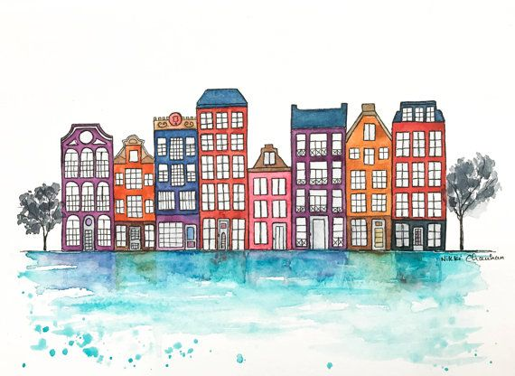 Original Amsterdam Watercolor Painting Travel By Nikspaintgallery