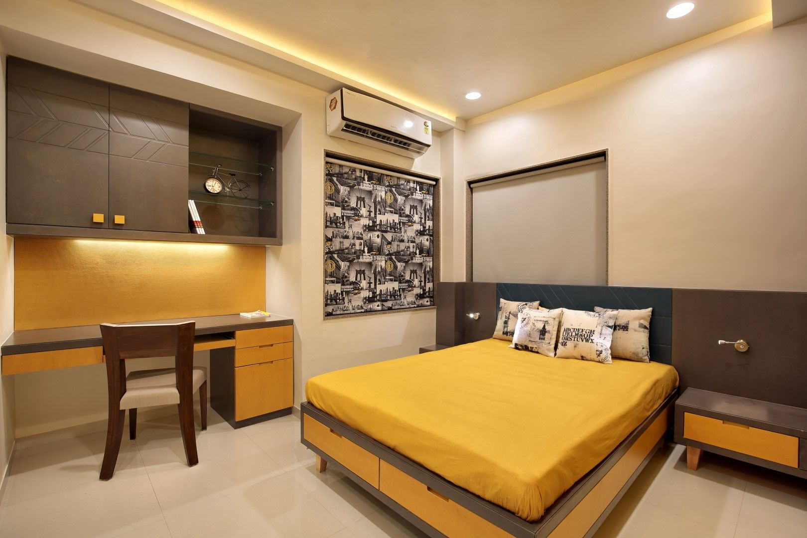 Fusion design of apartment in vadodara is aesthetically appealing studio7 the overall design is contemporary but used an element like floral motif