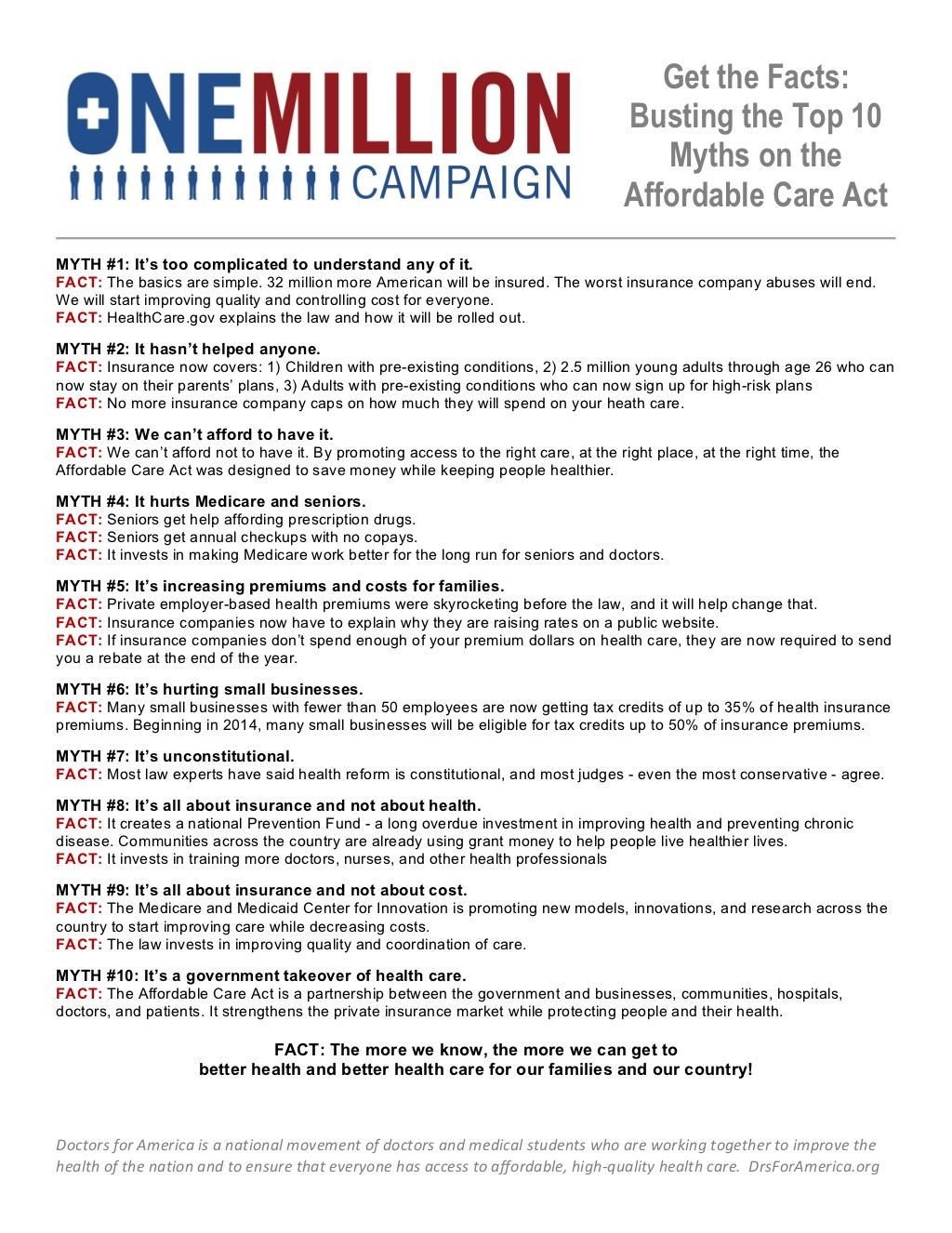 10 Myths About The Affordable Care Act Obamacare Aca Health
