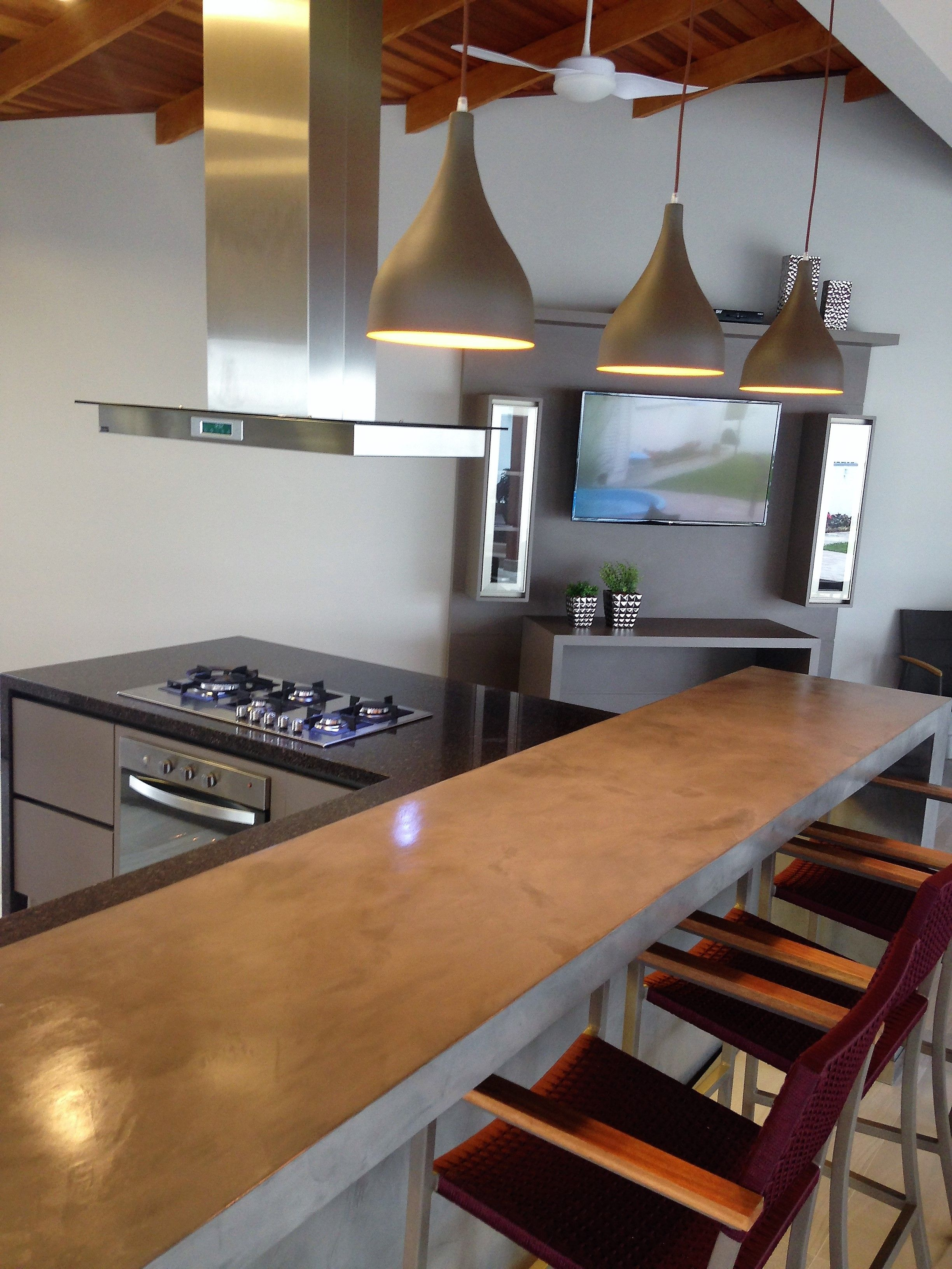 Cozinha Gourmet Bancada Aplica O Resina Concreto Aparente M Veis