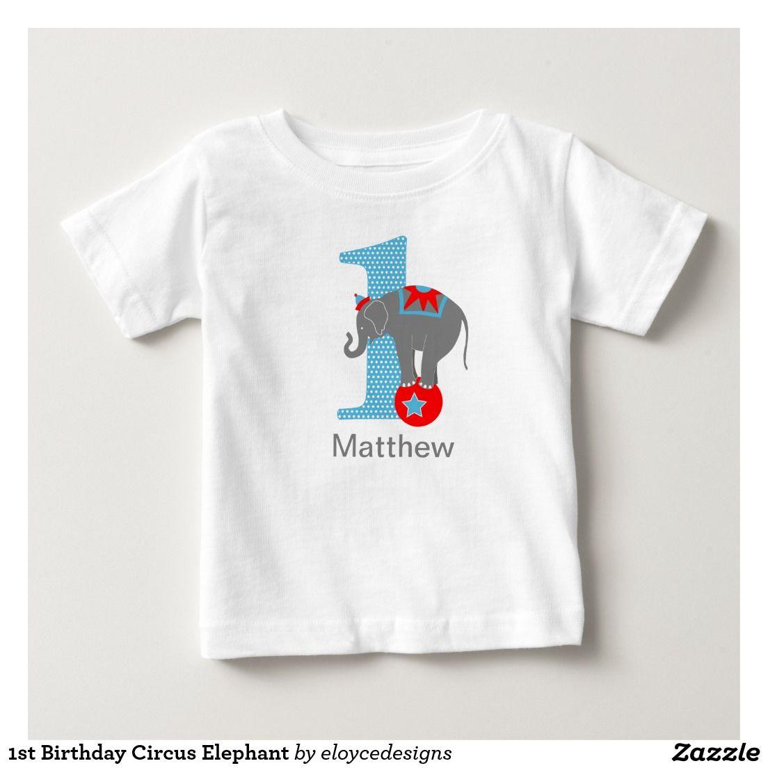 1st Birthday Circus Elephant Tshirt