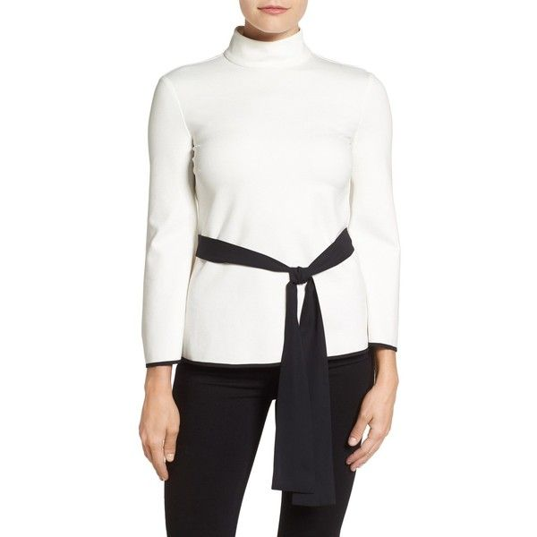 f23271fe46fd0f Vince Camuto Belted Turtleneck Blouse ( 40) ❤ liked on Polyvore featuring  tops