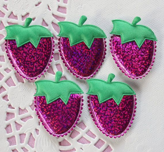 5PCs Big Holographic Padded Strawberry Appliques - 45x32mm
