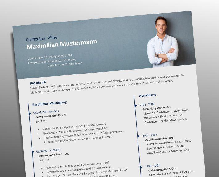 Top Job Bewerbung Profi Lebenslauf Vorlage mit Foto Header | General ...