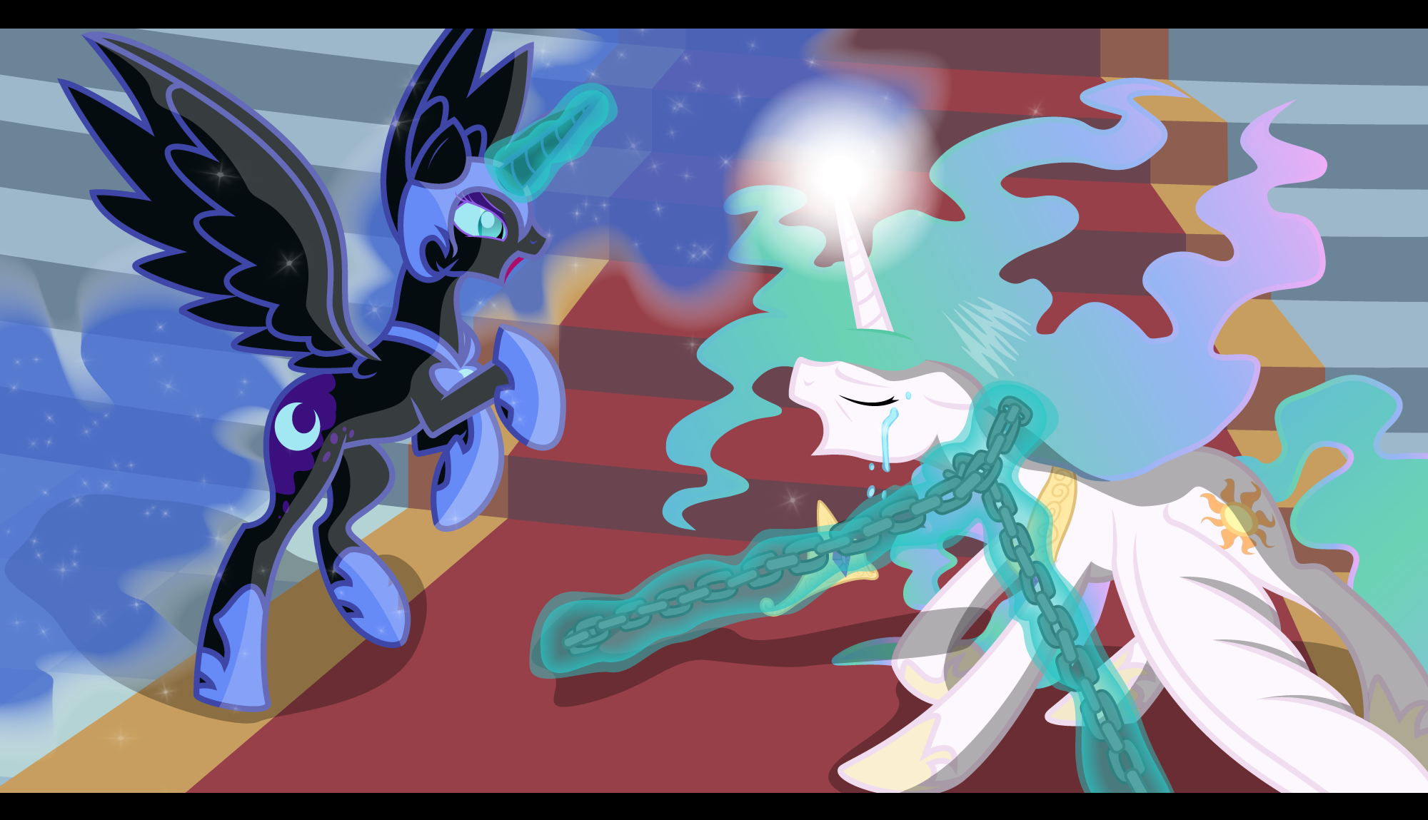 My Little Pony Coloring Pages Nightmare Moon : Nightmare moon vs celestia pony princess nightmare