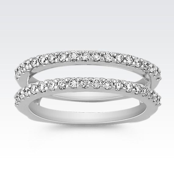 Diamond Double Band Solitaire Engagement Ring Guard Solitaire