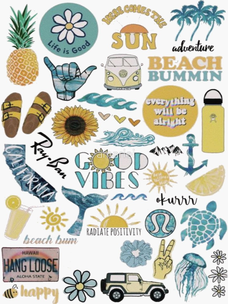Blue Yellow Summer Pack Sticker By Amariei Redbubble Iphone Stickers Iphone Wallpaper Vsco Aesthetic Stickers