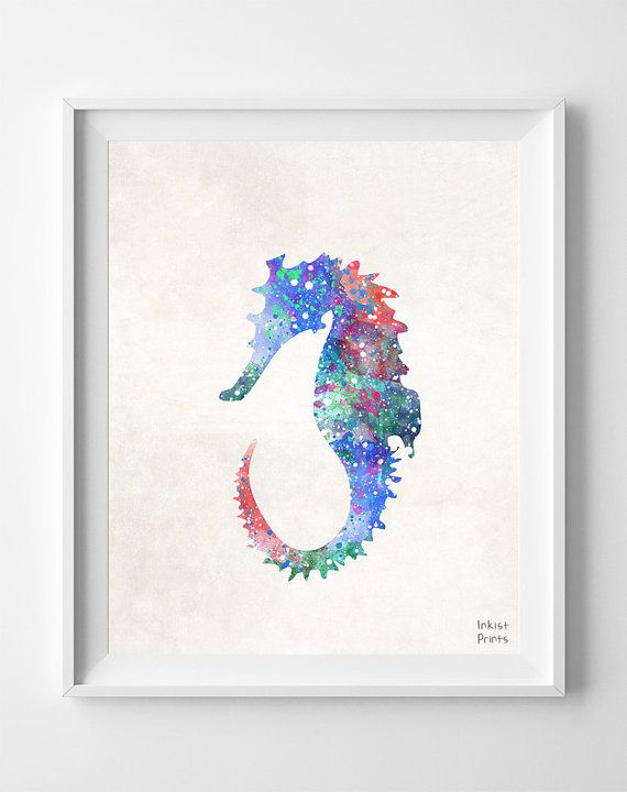 Seahorse Watercolor Sea Print Painting Marine Fish by InkistPrints, $11.95 - Shipping Worldwide! [Click