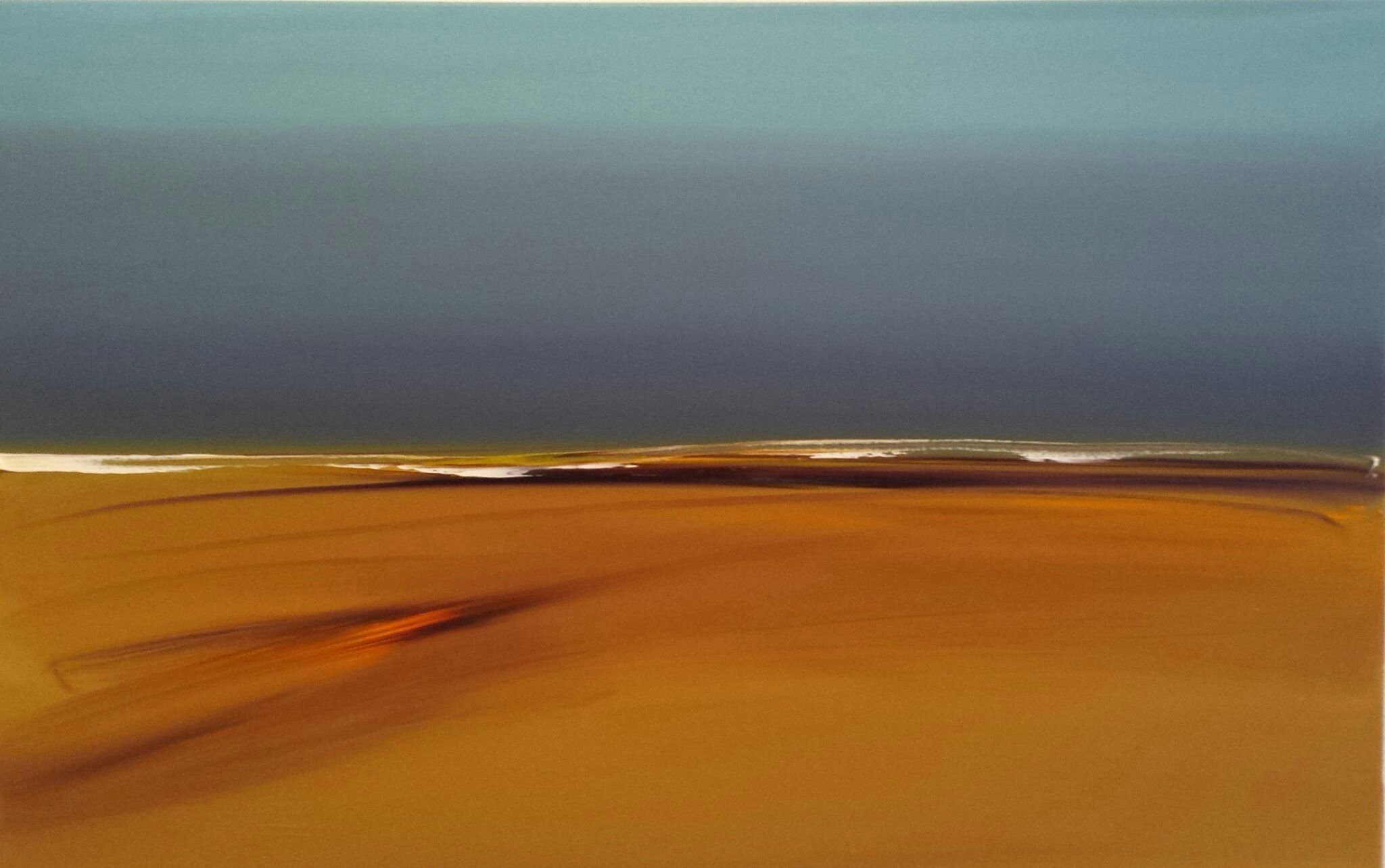 an abstract painting of a landscape, broad strokes of color vivid against each other, vibrating: the sky is overcast and the ground is brown and orange, as if sand.