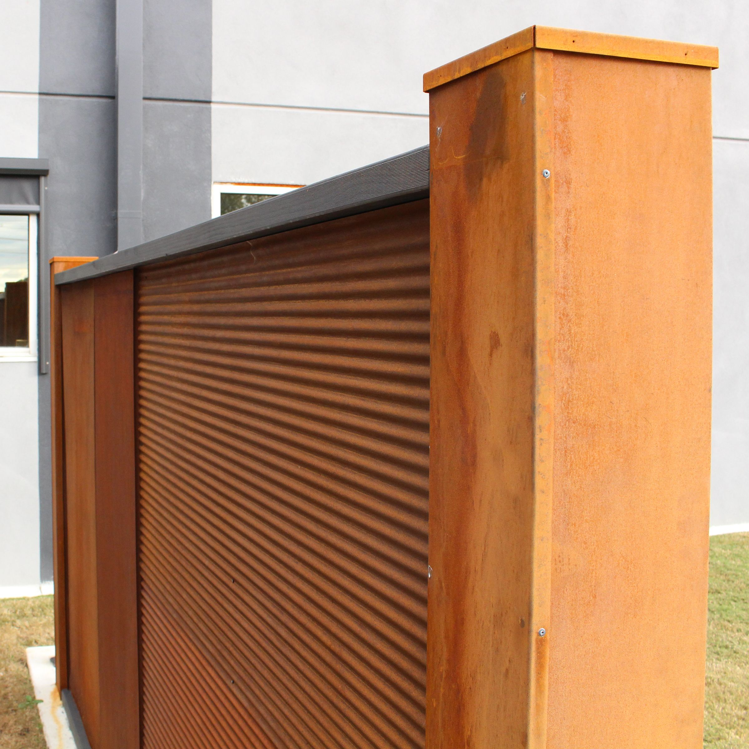 Chippy S Outdoor Stocks The Z Tina Mini Orb Corrugated Rust Metal Sheets These Are A Fantastic Rustic Addit Privacy Screen Outdoor Living Areas Rusted Metal
