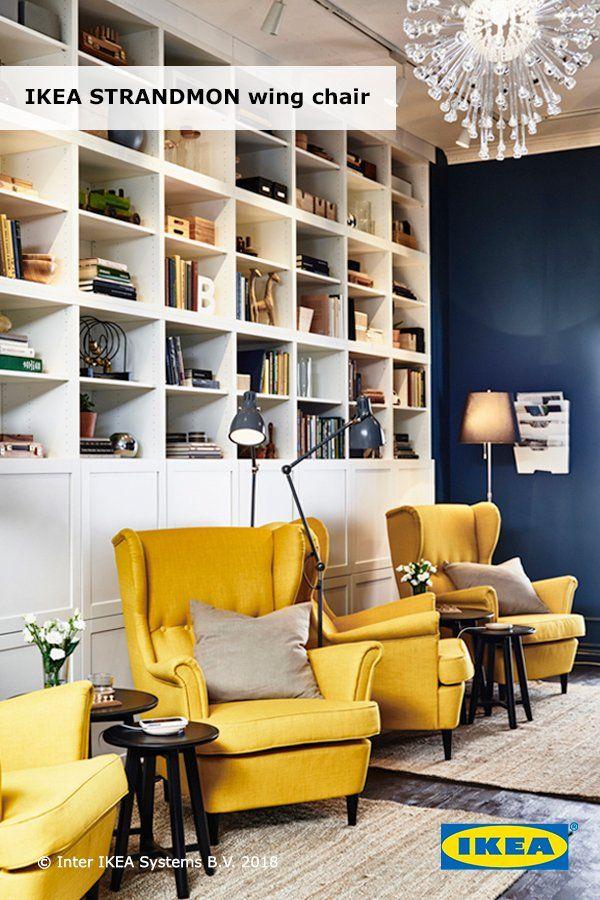 Strandmon Wing Chair Skiftebo Yellow, Ikea Chairs Living Room
