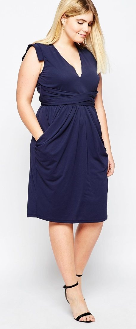 Plus Size Crepe Dress With Obi Wrap