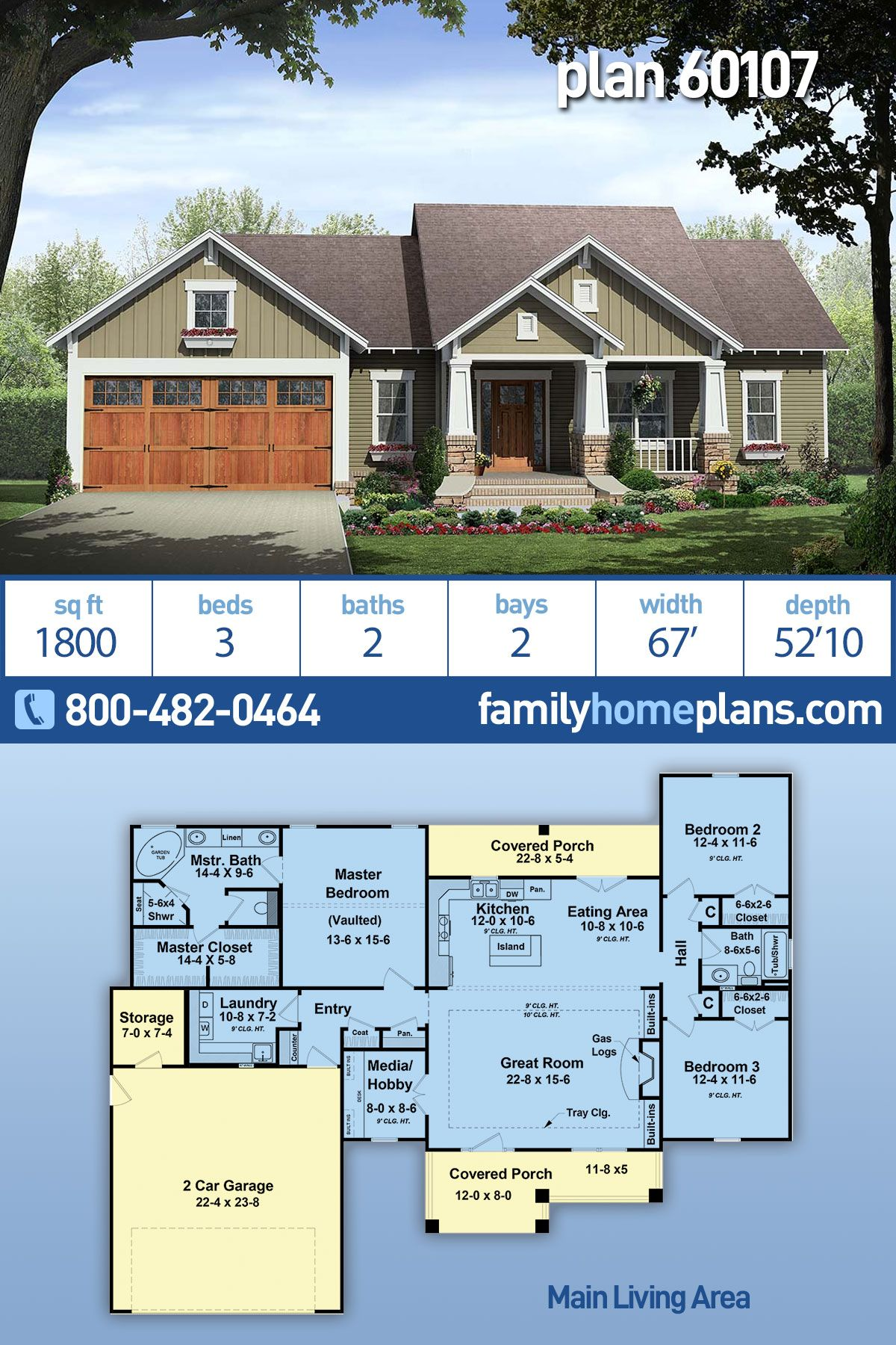 Craftsman Style House Plan 60107 With 3 Bed 2 Bath 2 Car Garage Craftsman Style House Plans Craftsman House Plans New House Plans