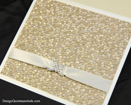 Champagne Embossed Pebble Wedding Invitation in Square Folded