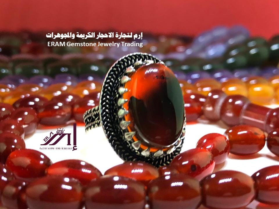 مظهرك يعكس شخصيتك طقم عقيق احمر زعفراني فاخر خاتم مع السبحة مميز درجة اولى طبيعي 100 Agate Gemstone Jewelry Gemstones Jewelry