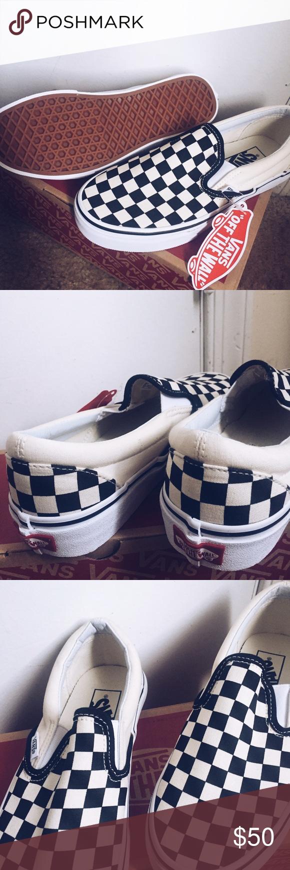0270080188 Mens checkered vans New! never work size 5.5 for men Vans Shoes Sneakers