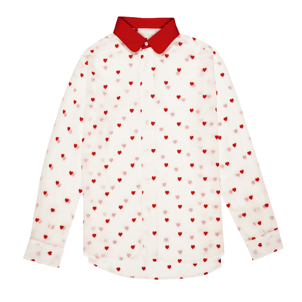 HEARTS ALL OVER BUTTON UP Embroidered heart, Cotton