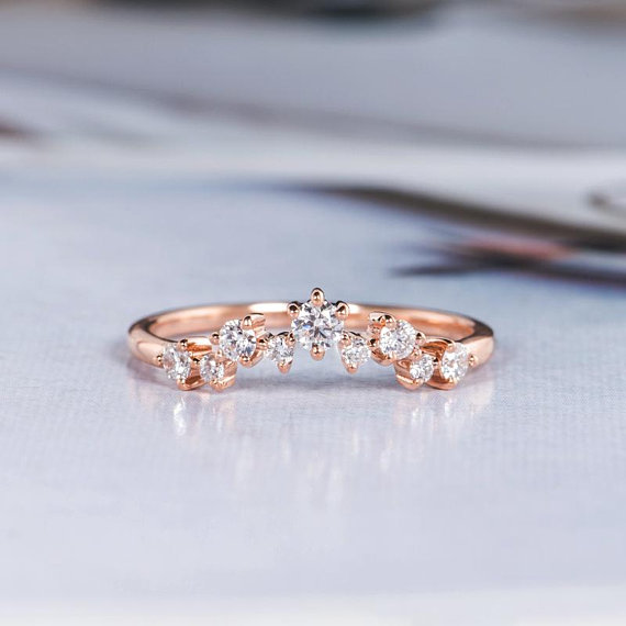 Rose Gold Wedding Band Women Curved Wedding Band Diamond Chevron Cluster Stacking Match Gold Wedding Bands Women Diamond Wedding Bands Wedding Rings Rose Gold