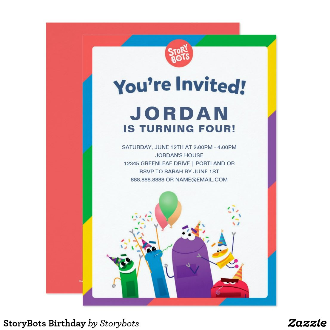 StoryBots Birthday Card Personalized invitations