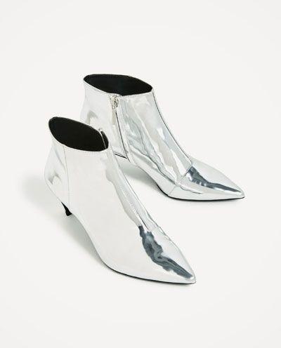 silberne absatzstiefelette schuhe damen zara deutschland buy the shoes eat later in 2019. Black Bedroom Furniture Sets. Home Design Ideas