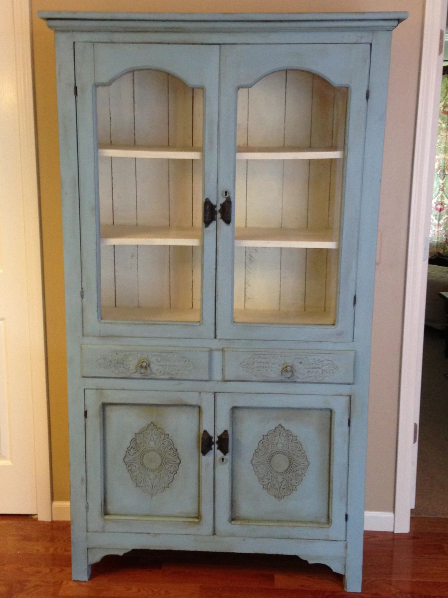 My project Antique pie safe done with Aubusson Blue and Old White