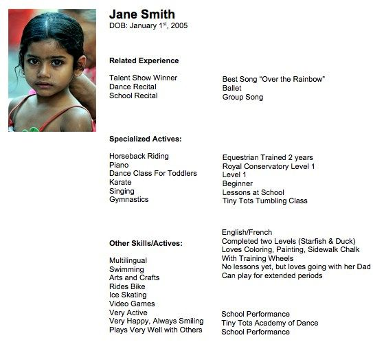 child actress resume template
