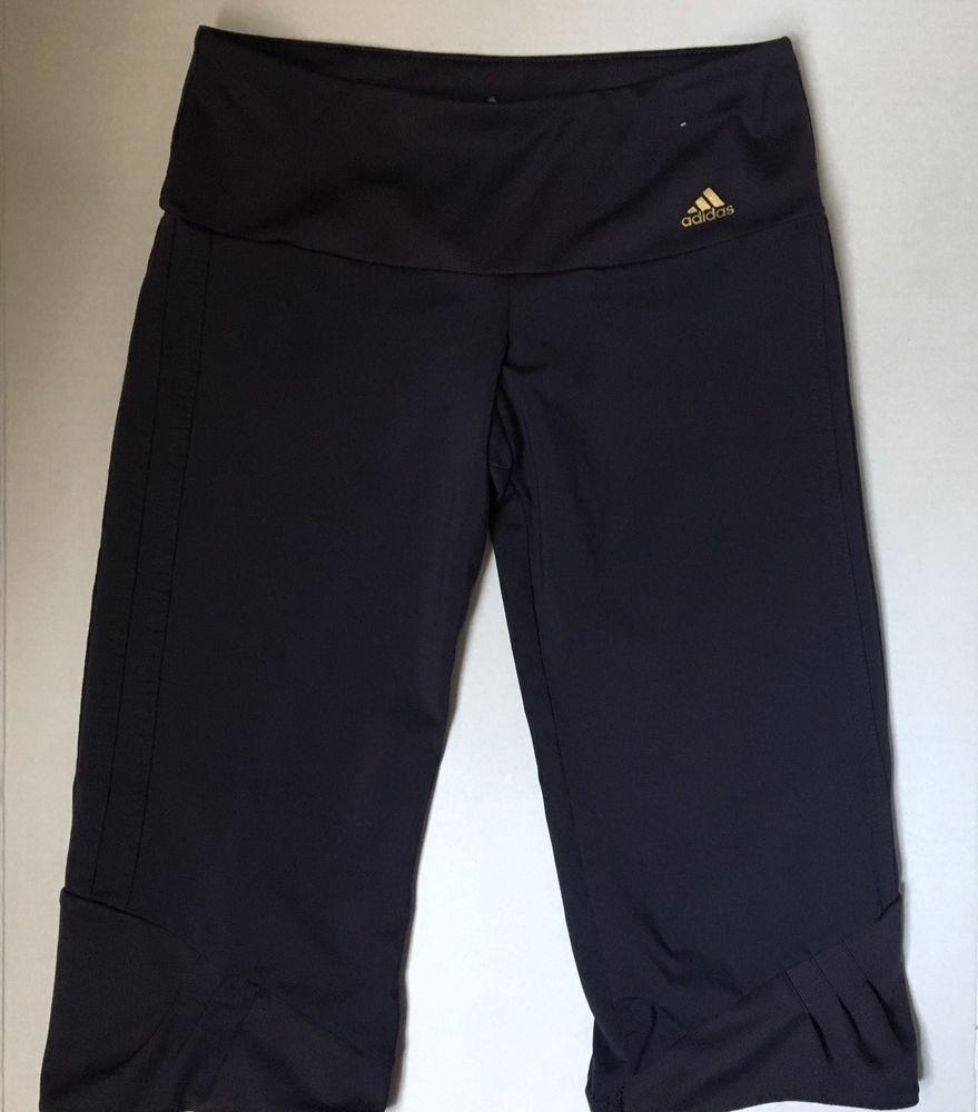 Women's Adidas Climalite Athletic Capri Length Running Tights -Size M -Black #Adidas #PantsTightsLeggings