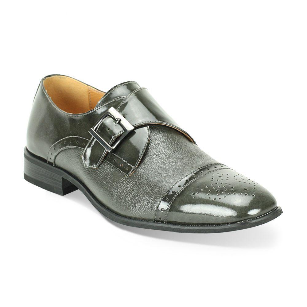 15ea3d91 Giorgio Venturi Men's Grey Two-Tone Single Monk Strap Dress Shoes ...
