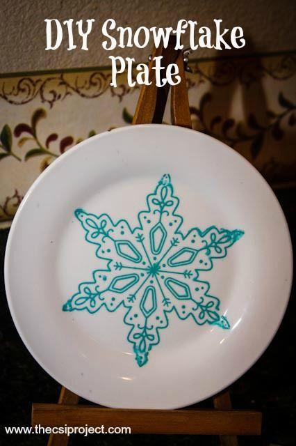 DIY Snowflake Plate{The CSI Girl} | DIY | Pinterest | Xmas and Craft