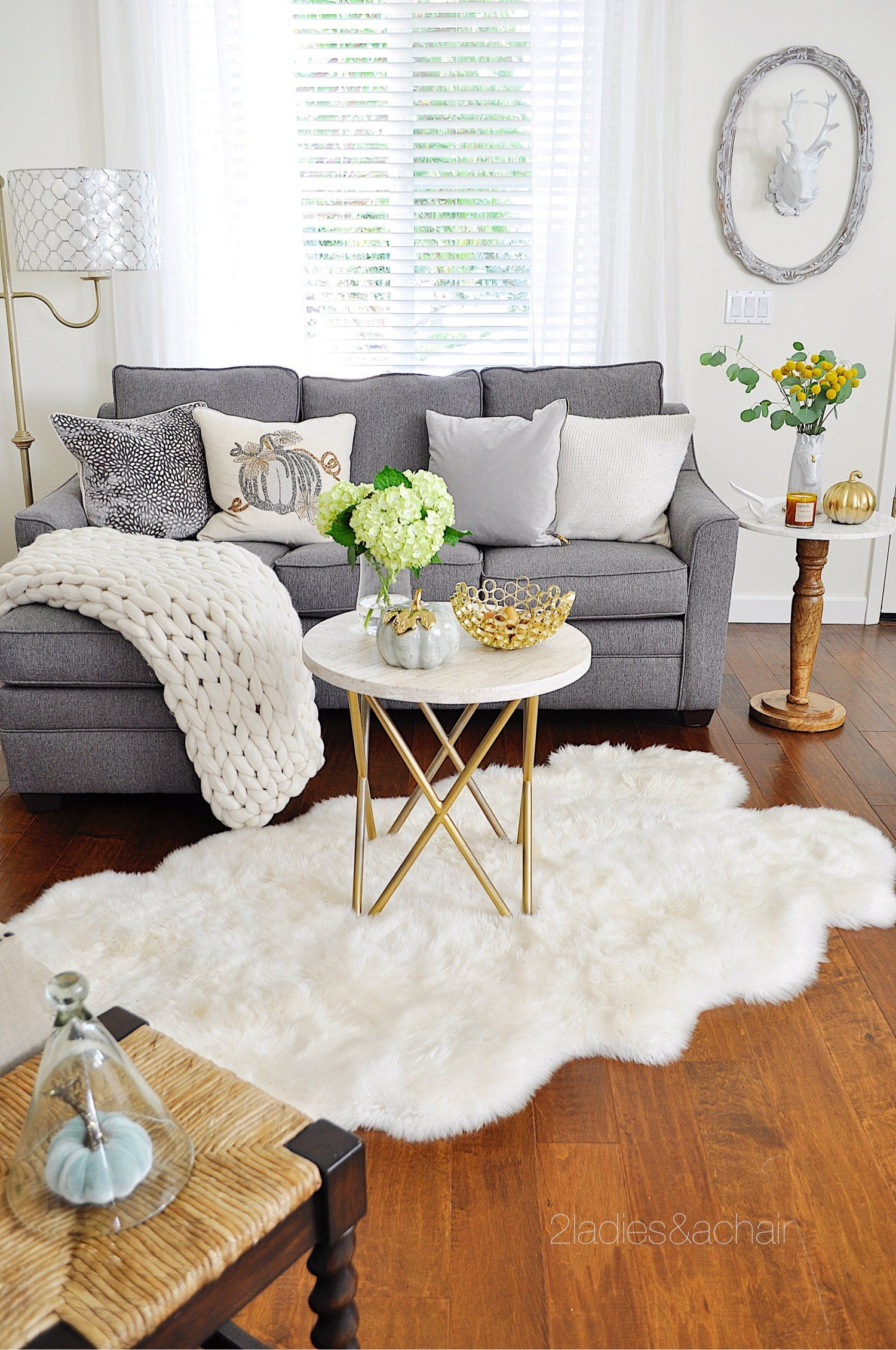 My Neutral Palette Was Well Established With White Walls And A Grey Sofa For Interest I In Winter Living Room Living Room Decor Neutral Fall Living Room Decor