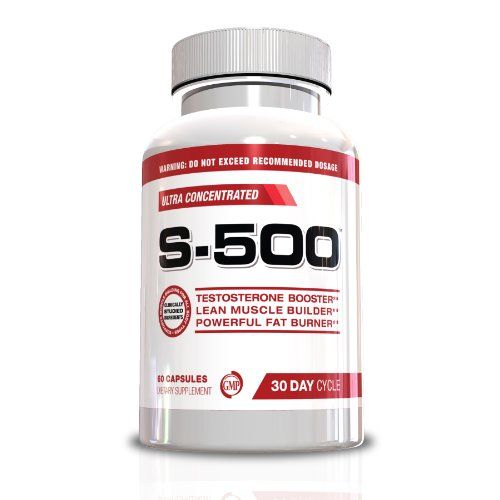 Testosterone Booster Fat Burner for Men-S-500 All In One Ultra Concentrated Muscle Builder, Pre Work Out, Nitric Oxide Supplement, Fat Burner, Energy Pills, Weight Loss Supplement, 60 Capsules, 30 Day Cycle, Look Great, Feel Great Today