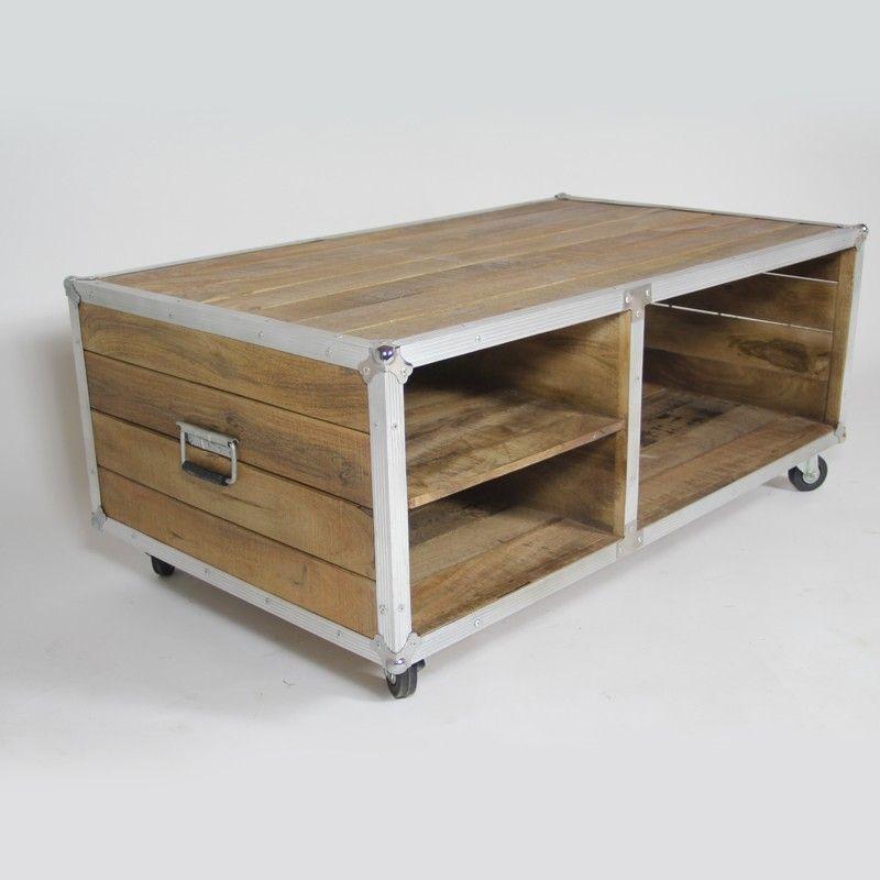 Table Basse Flight Case Metal Et Bois 122x72 Table Basse Meuble Style Industriel Table De Salon