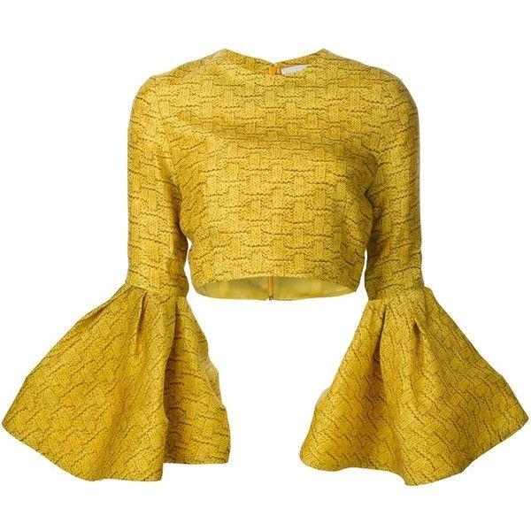20e7a3c18742c Christian Siriano ruffled sleeve crop top ( 1