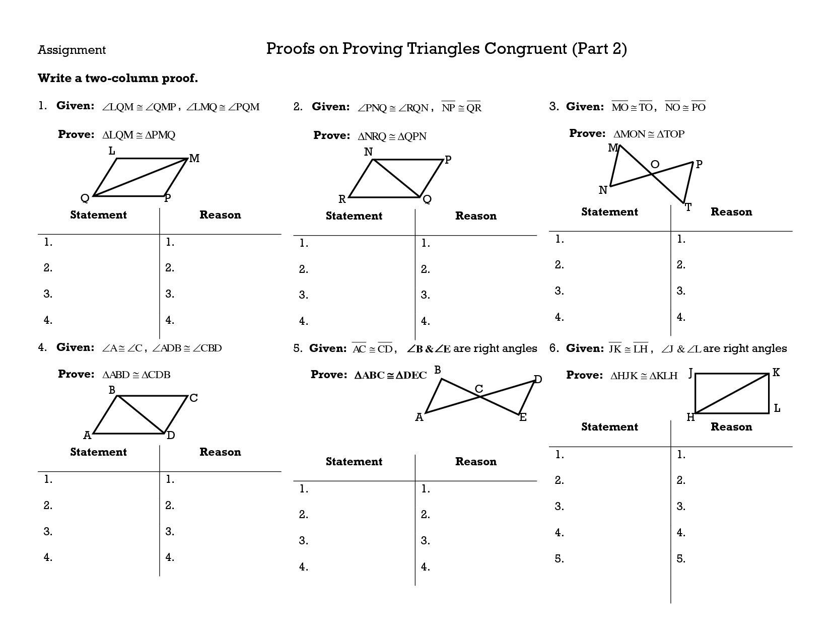 Classified Triangle Congruence Proofs Worksheet