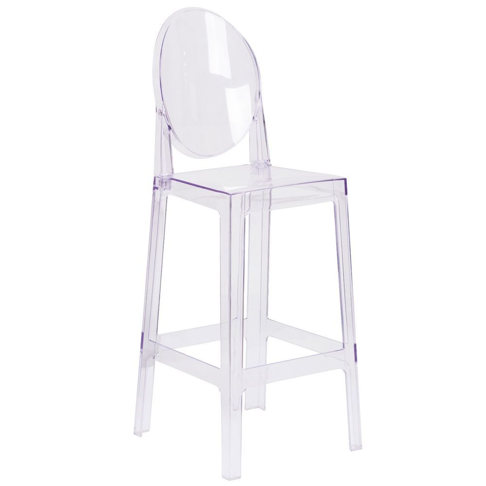 (SET OF 2) Modern Oval Back Ghost Bar Stool Chairs Transparent Clear Acrylic  #