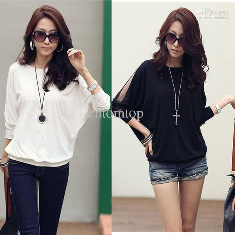 New Womens Cotton Loose Top Dolman Batwing Lace Long Sleeve Blouse Shirts  for Women Free Shipping, G0129 2018 from cntomtop, $6.64