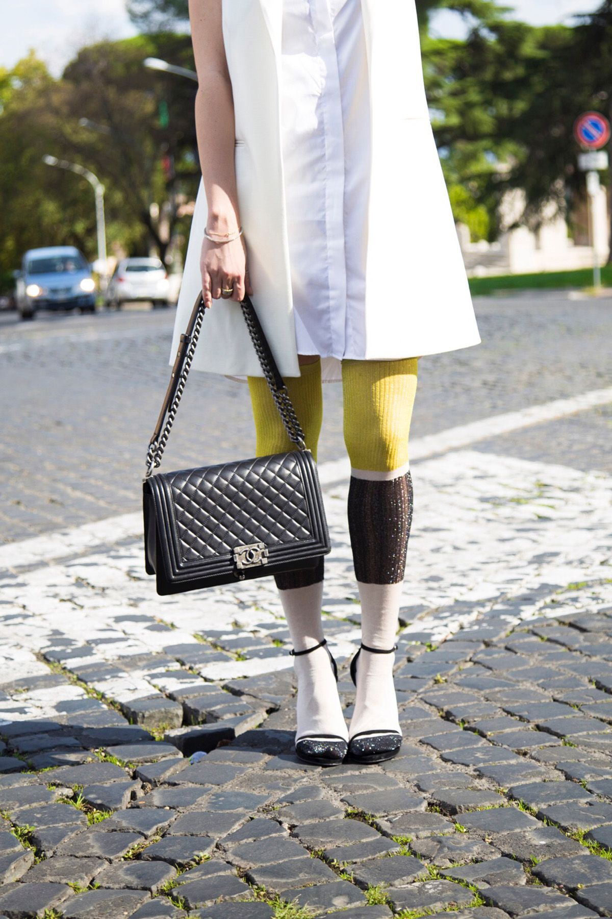 2a765824e608 socks and sandals with Chanel boybag