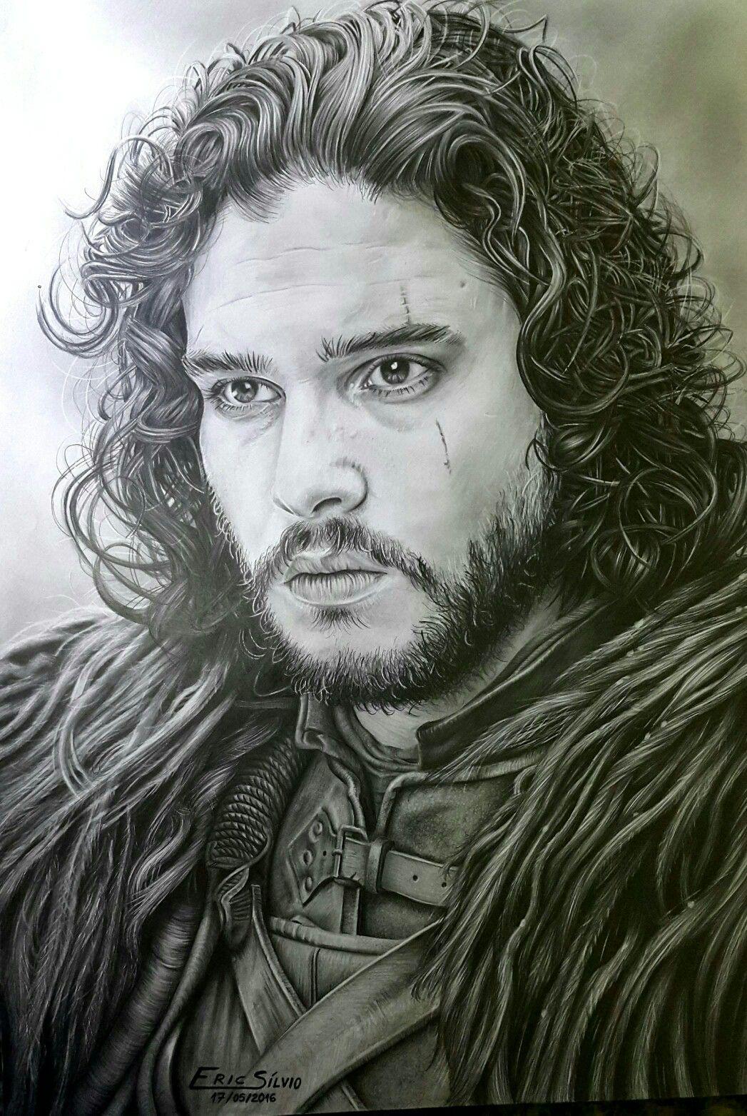 Jon Snow Da Serie Game Of Thrones Desenho Feito A Grafite