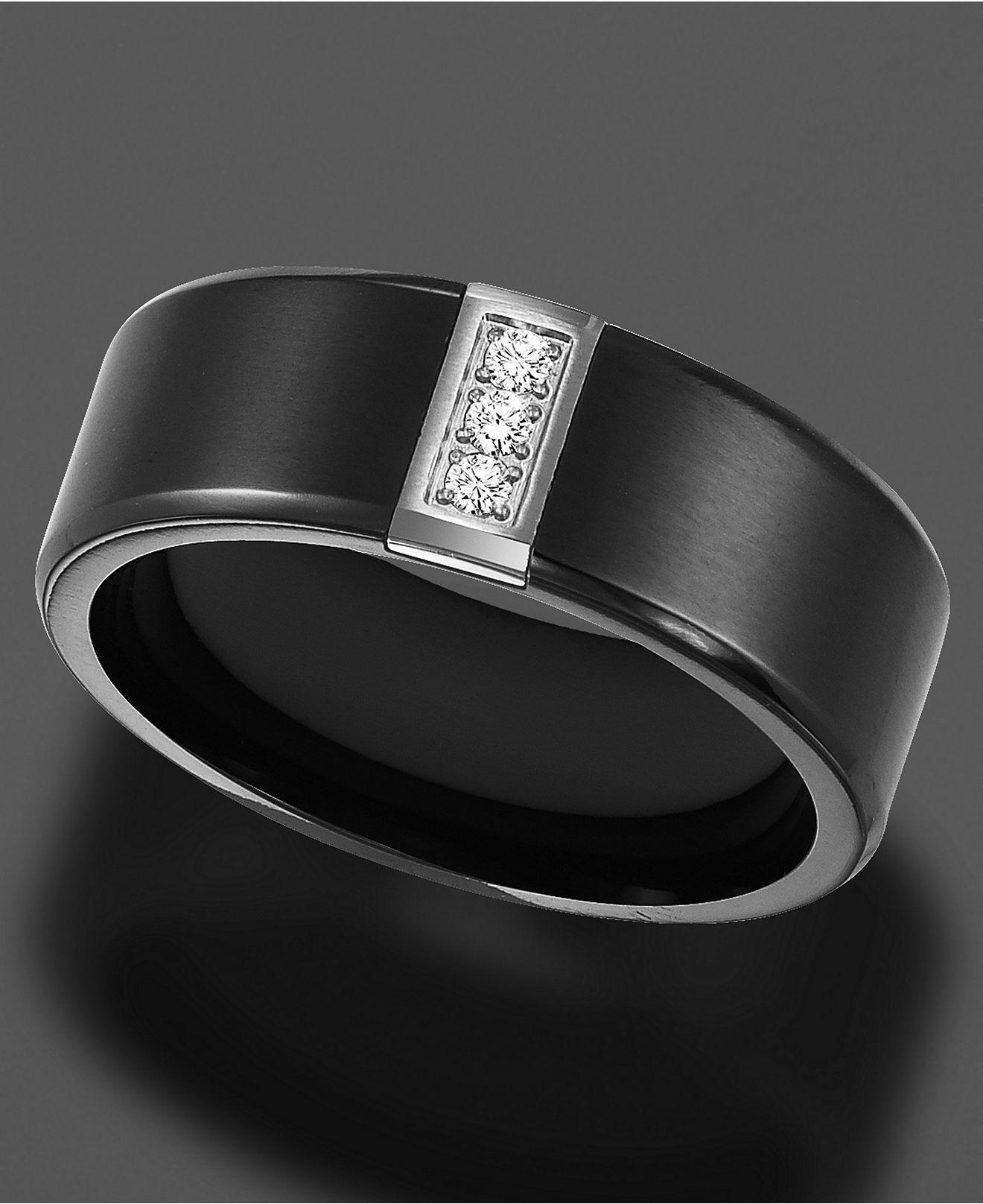 Black Titanium Ring, Diamond Accent Band Black titanium