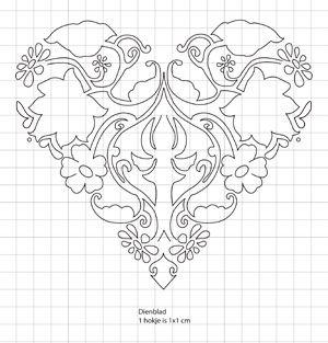 Download het patroon van het hart (1 hokje is 1x1 cm)