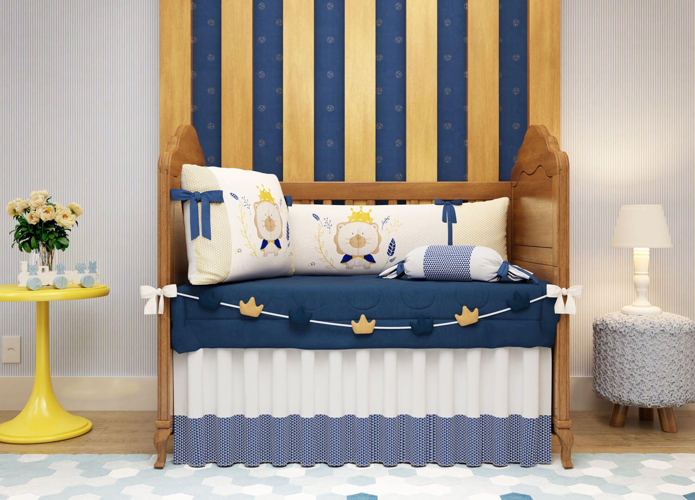 O Quarto De Beb Reizinho Da Floresta Azul Marinho Traz Um Kit  ~ Quarto Azul Marinho E Branco E Montar O Quarto Do Bebe