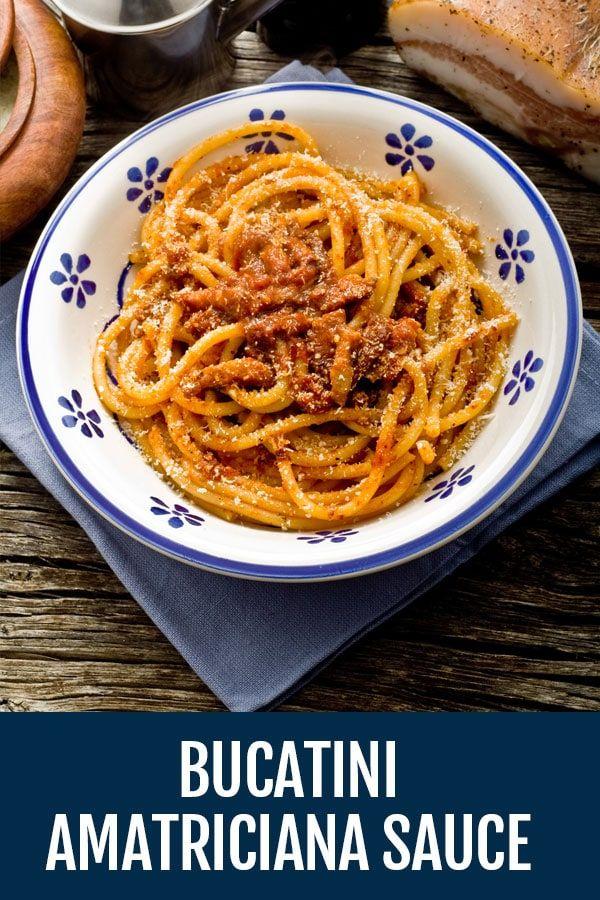 Bucatini all Amatriciana Sauce   Recipe   Italian recipes. Amatriciana sauce. Bucatini recipes