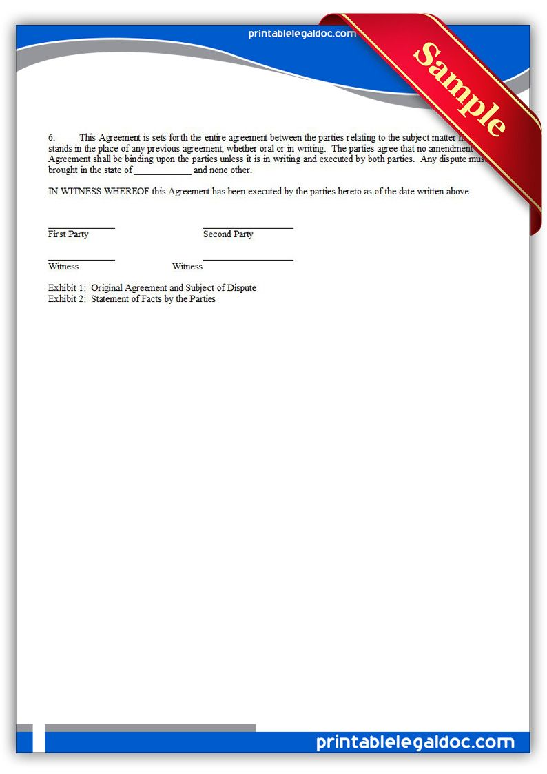 Free Printable Arbitration Or Mediation Agreement Legal Forms