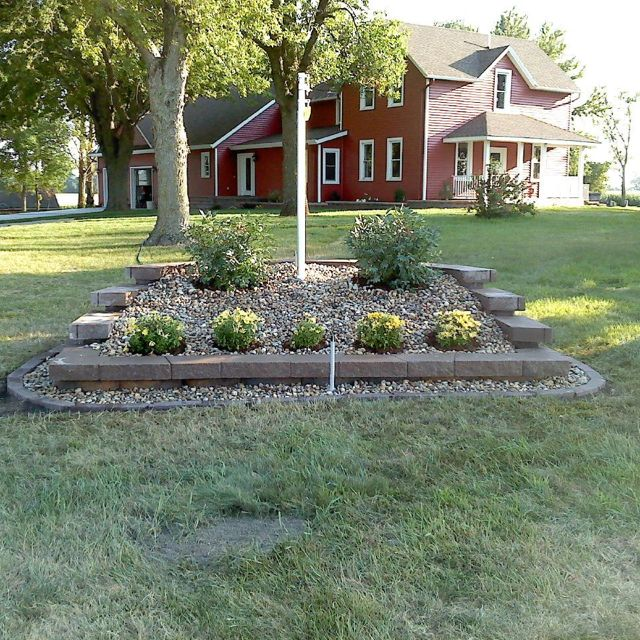 New Burm Just Need A Big Rock A Light For Our Flag Pole And Hang Our Flag And We Ll Flag Pole Landscaping Simple Landscape Design Small Backyard Landscaping