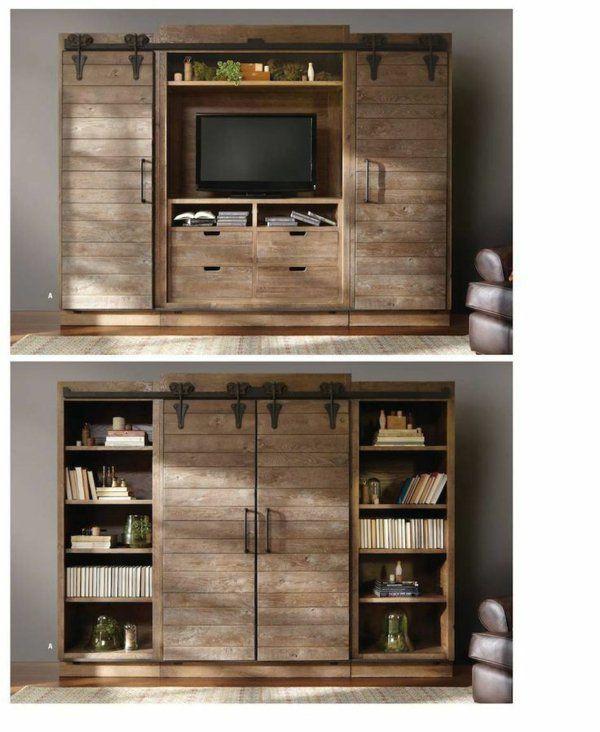 fernsehschränke rustikal wohnzimmer design holz | tv idee ...