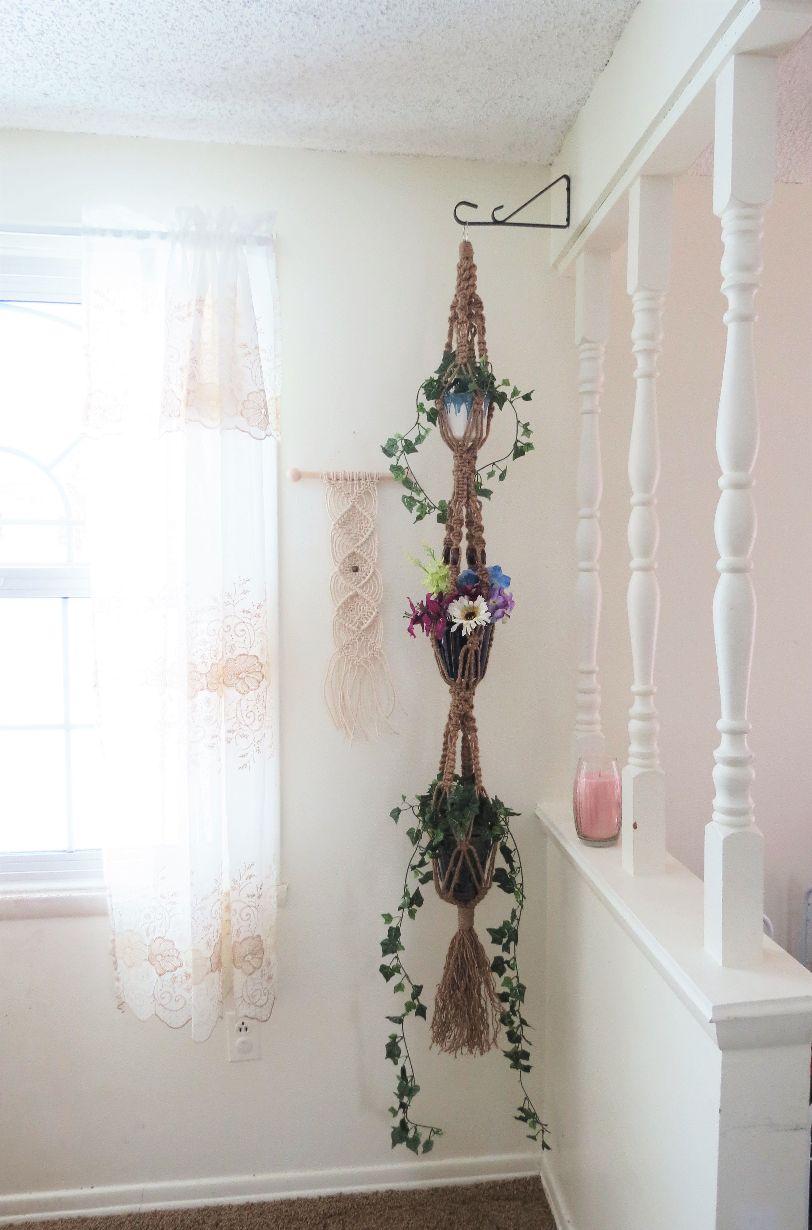 3 Tier Macrame Plant Hanger Natural Jute 64 Triple Hanging Planter